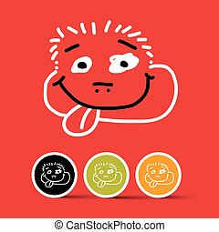 Funny Face Vector Illustration on Red Background