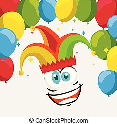 funny face wearing joker hat with balloons