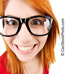 funny face - wideangle distorted picture of funny female...