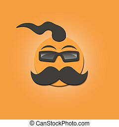 Funny face with a mustache, vector