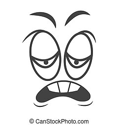Funny face with emotion of disgust black and white sketch picture. Frowned eyebrows, sad eyes and curved open mouth with teeth. Emotional cartoon face expression vector outline illustration.