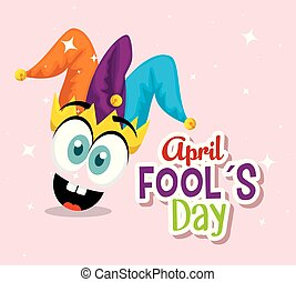 funny face with joker hat to fools day