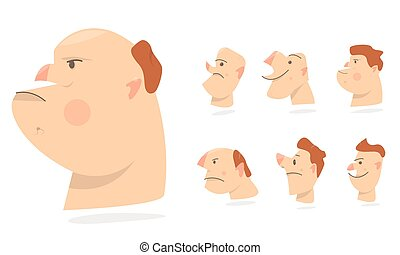 Funny faces, different expressions of emotions. Characters people avatars. Cartoon comic caricature.