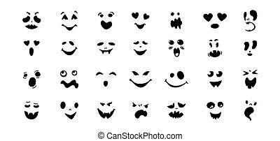 funny faces flat cartoon set Halloween vector