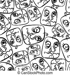 Funny faces seamless background