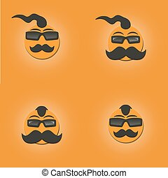 Funny faces with a mustache, vector