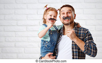 funny family father and child with a mustache - funny family...