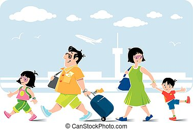 Funny family in airport goes on vacation.