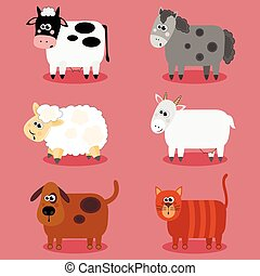 Funny farm animals and pets collection. Isolated sheep, cow,...