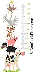 Farm animals. Height chart or meter wall or wall sticker. Cow, sheep, pig, dog, goose, hen and chicken. Children vector illustration with scale 50 to 140 cm to measure growth for kids room.