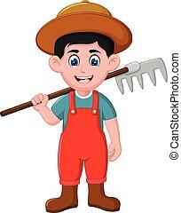 Funny Farmer With Fork Cartoon