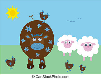 Vector illustration of a cow, sheep and chickens.