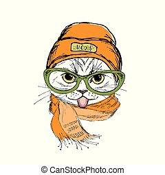 Funny fashion cat face showing tongue, hat and scarf, hand drawn