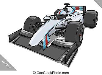 funny fast cartoon formula race car vector illustration art