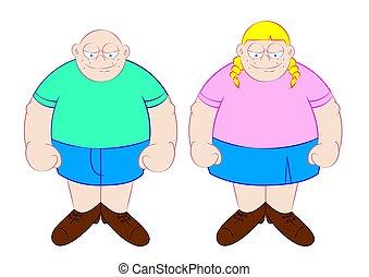 funny fat boy and girl cartoon