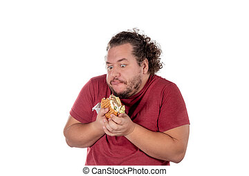 Funny fat man eating hamburger. Fast food, unhealty eat. Overweight and health problems