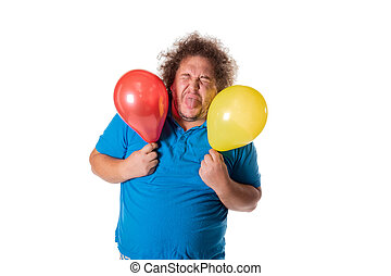 Funny fat man with balloons. Happy birthday