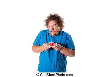 Funny fat man with cake. Happy birthday