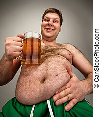 Funny fat man with glass of beer - Portrait of funny fat man...