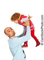 Funny father playing with girl