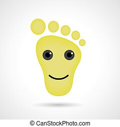 Funny feet emoticon icon. Feet emotions sign. Vector illustration