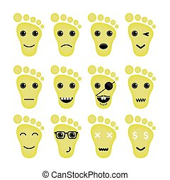 Funny feet emoticon set.Feet different emotions collection.