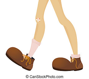 funny feet of teenager are in large boots - vector...