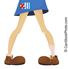 funny feet of teenager are in large boots - vector illustration