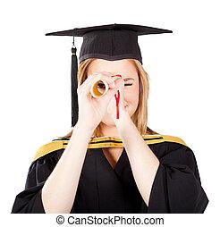 funny female graduate looking