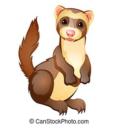 Funny ferret toy isolated on white background. Vector cartoon close-up illustration.
