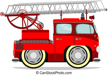 Funny firetruck. - Cute cartoon firetruck. Vector without...