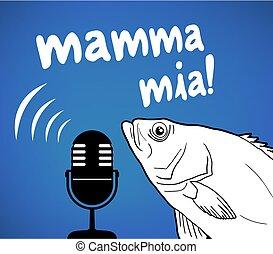 Creative design of fish and mamma mia message