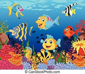funny fish cartoon with sea life - vector illustration of...