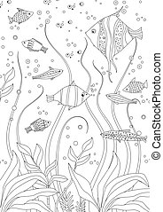 funny fishes and seaweed for your coloring book