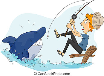 Funny Fishing - Illustration of a Man Catching a Shark