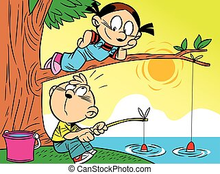 funny fishing with the kids - The illustration of boy and ...