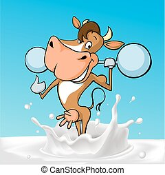 funny fitness strong cow cartoon st