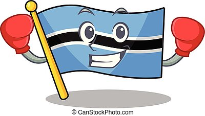 Funny flag botswana in red boxing cartoon character
