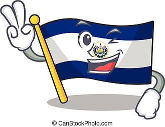 Funny flag el salvador Scroll cartoon Character with two fingers. Vector illustration