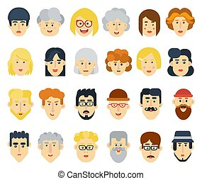 Funny flat avatars icons set. Positive male and female characters. Vector illustration.
