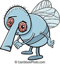 funny fly cartoon illustration