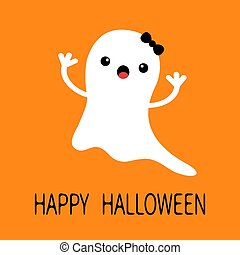 Funny flying baby girl ghost with black bow. Smiling face. Happy Halloween. Greeting card. Cute cartoon character. Scary spirit. Kids collection. Orange background. Flat design.