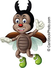 Funny Flying Brown Beetle Wear Green Shoes With Thumb Up Hand Cartoon