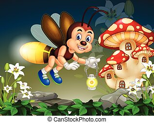 Funny Flying Brown Firefly With Old Lantern Lamp With Ivy Flowers and Red Brown Mushroom House Cartoon