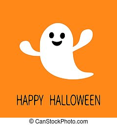 Funny flying ghost. Smiling face. Happy Halloween. Greeting card. Cute cartoon character. Scary spirit. Baby collection. Orange background. Flat design.