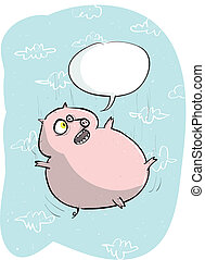 Funny Flying Pig with Speech Bubble