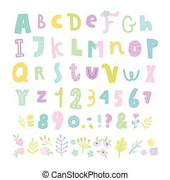 Funny font. Letters, numbers and flowers.