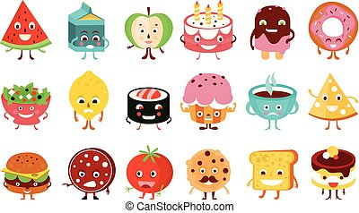 Funny food and drink characters with funny faces and emotions big set vector illustration