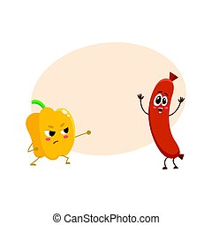 Funny food characters, pepper versus sausage, healthy lifestyle concept