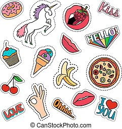 Funny food stickers set - Funny quirky colorful food...